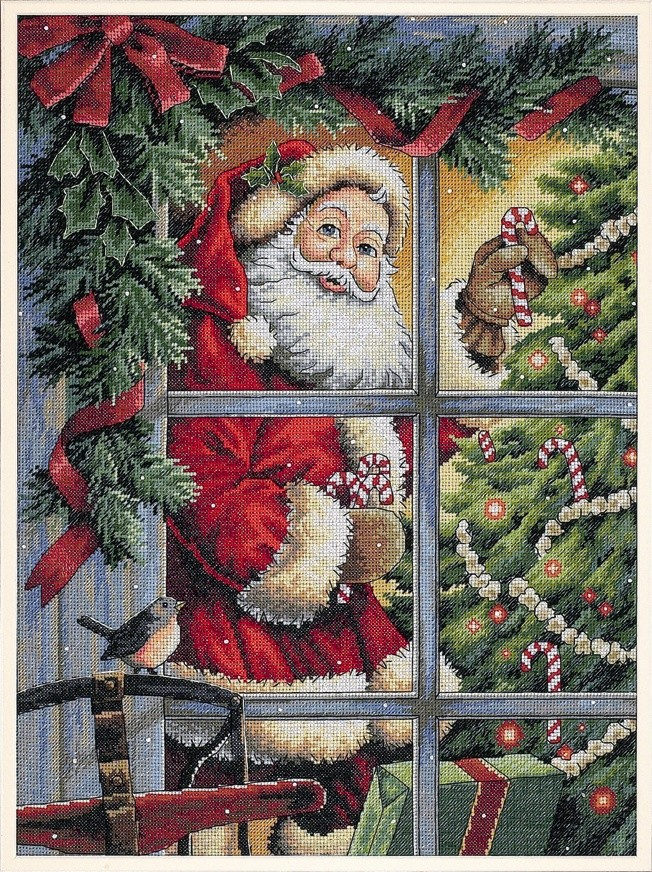 Candy Cane Santa -  Christmas Cross Stitch Kit
