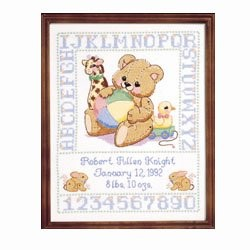 Janlynn Bear Birth Sampler Cross Stitch Kit