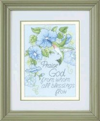 Hummingbird and Morning Glories -  Cross Stitch Kit