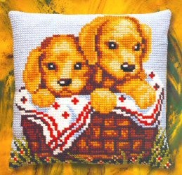 Puppies in a Basket -  Cross Stitch Kit