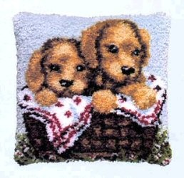 Pako Two Puppies in a Basket Latch Hook Rug Kit