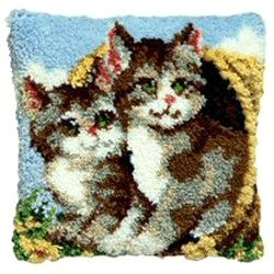 Pako Two Cats in a Basket Latch Hook Rug Kit