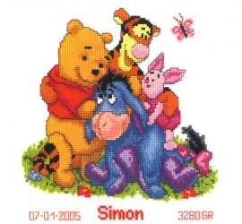 Pooh and Friends Birth Announcement -  Cross Stitch Kit
