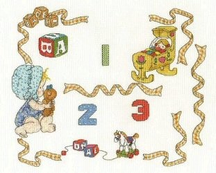 DMC Baby Sampler With Numbers Cross Stitch Kit