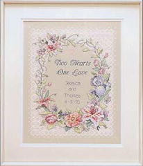 Two Hearts Wedding Record -  Cross Stitch Kit