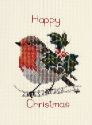 Holly and Robin -  Christmas Cross Stitch Kit