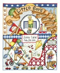 Bobbie G Designs Little Boys Are Made Of Birth Sampler Cross Stitch Kit