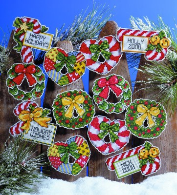 Design Works Crafts Candy Canes and Wreaths Ornaments Christmas Cross Stitch Kit