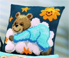 Vervaco Blue Teddy Cushion Cross Stitch Kit