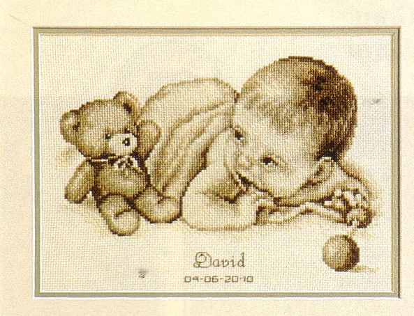 Baby with Teddy Birth Record -  Cross Stitch Kit