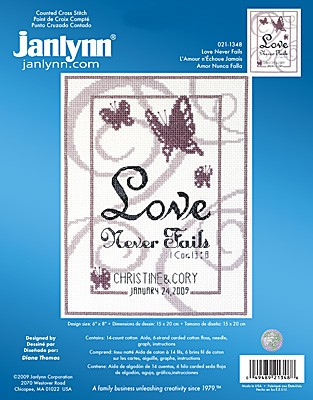 Janlynn Love Never Fails Wedding Sampler Cross Stitch Kit