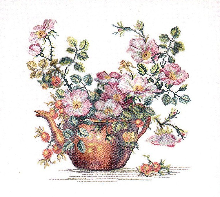 Kettle and Flowers -  Cross Stitch Kit