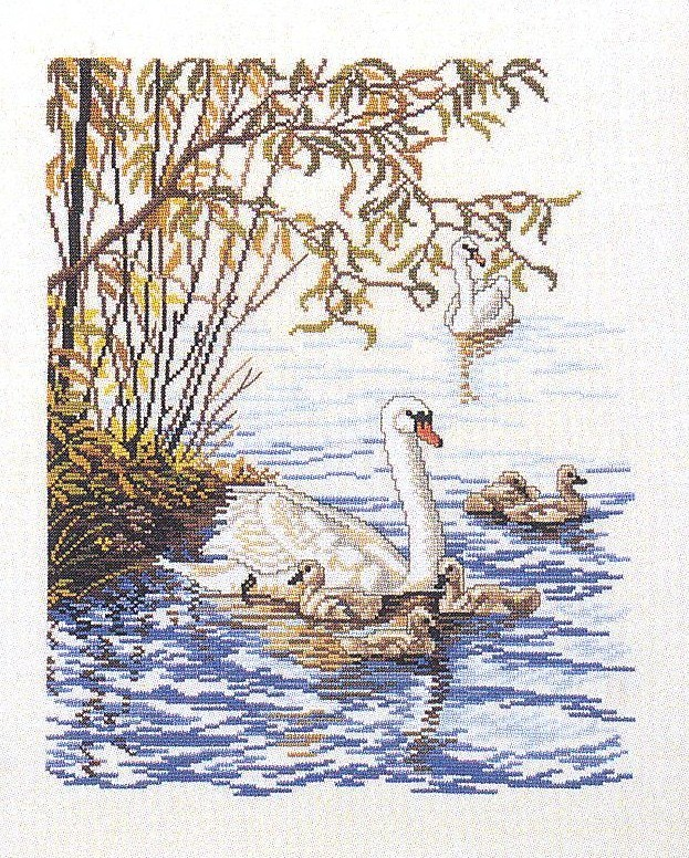 Eva Rosenstand Swan Family Cross Stitch Kit