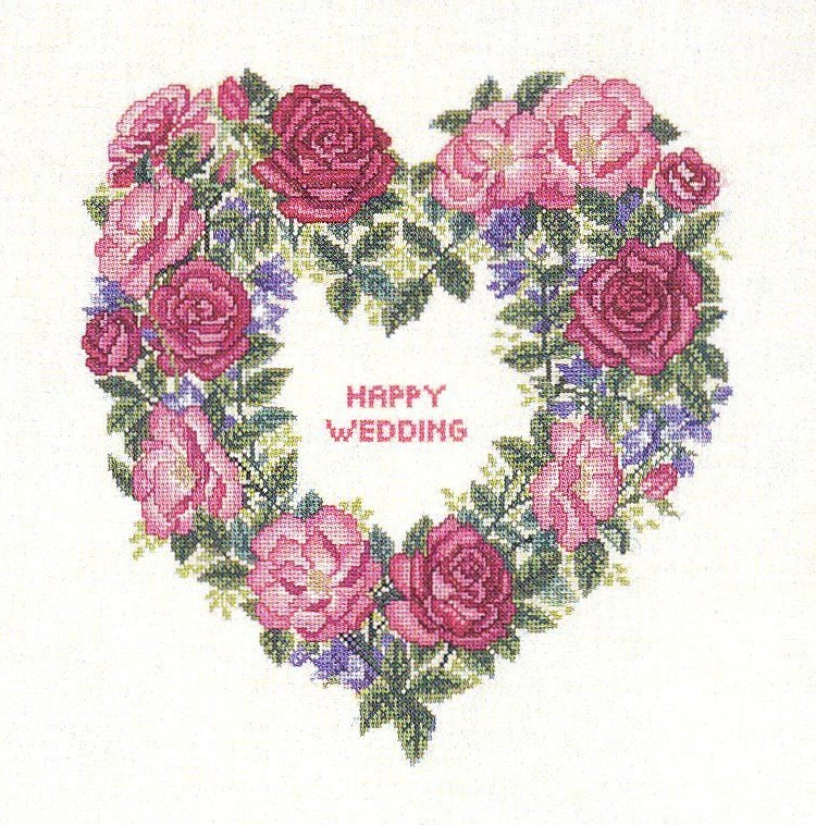 Rose Wedding Wreath -  Cross Stitch Kit