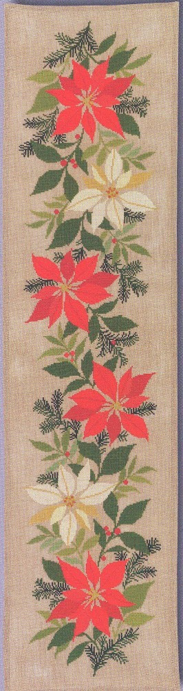 Red and White Poinsetta Runner -  Christmas Cross Stitch Kit
