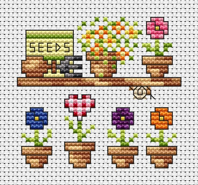 Garden Shelf Card -  Cross Stitch Kit