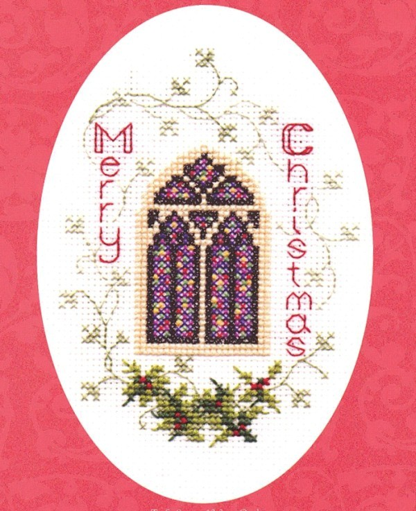 Derwentwater Designs Stained Glass Window Christmas Card Making Cross Stitch Kit