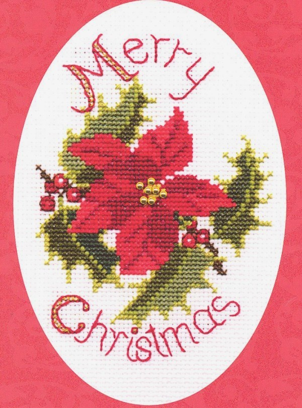 Derwentwater Designs Poinsettia and Holly Christmas Card Making Cross Stitch Kit