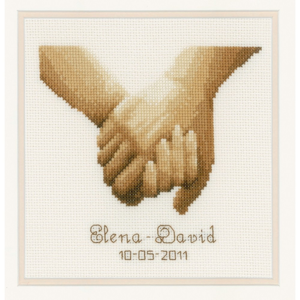 Vervaco Holding Hands Wedding Sampler Cross Stitch Kit