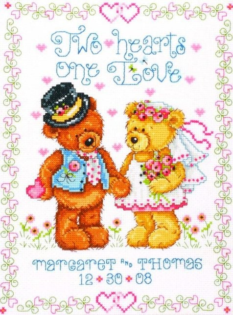 Two Hearts Wedding Sampler -  Cross Stitch Kit