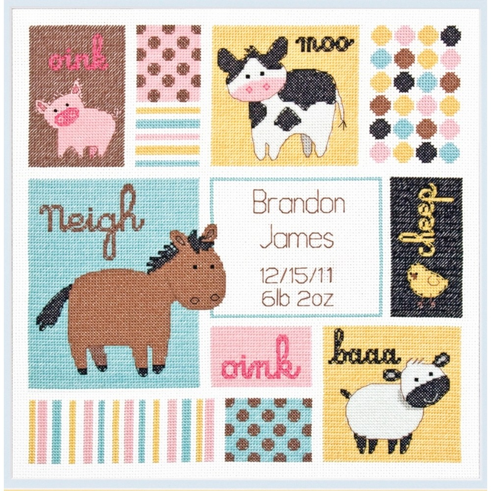Dimensions Barn Babies Birth Record Birth Sampler Cross Stitch Kit