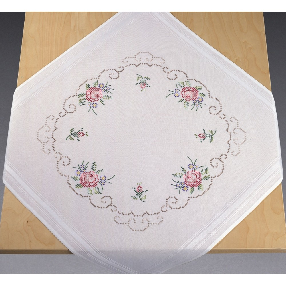 Permin Bouquets of Roses Tablecloth Cross Stitch Kit