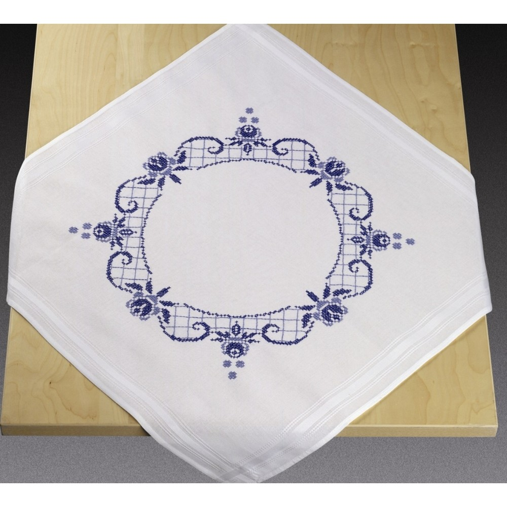 Blue Rose Circle Tablecloth -  Cross Stitch Kit