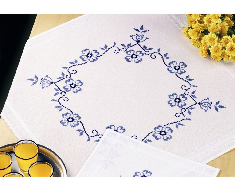 Permin Blue Daisy Tablecloth Cross Stitch Kit