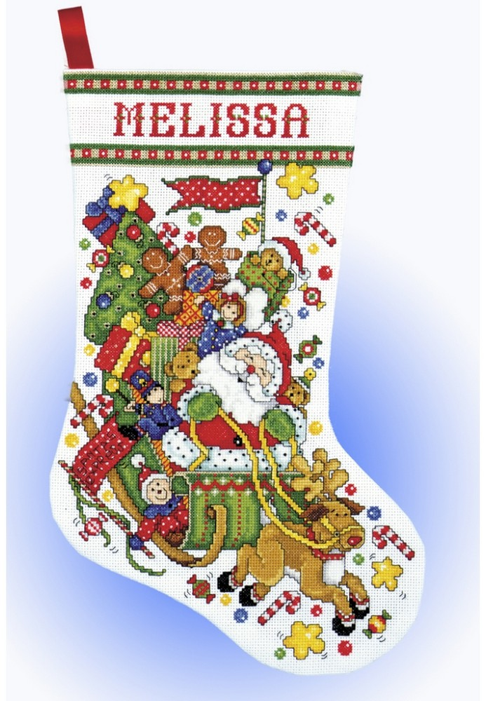 Santa Sleigh Stocking -  Christmas Cross Stitch Kit