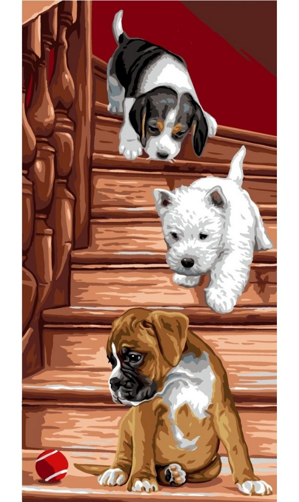 Royal Paris Puppies on Stairs Tapestry Canvas
