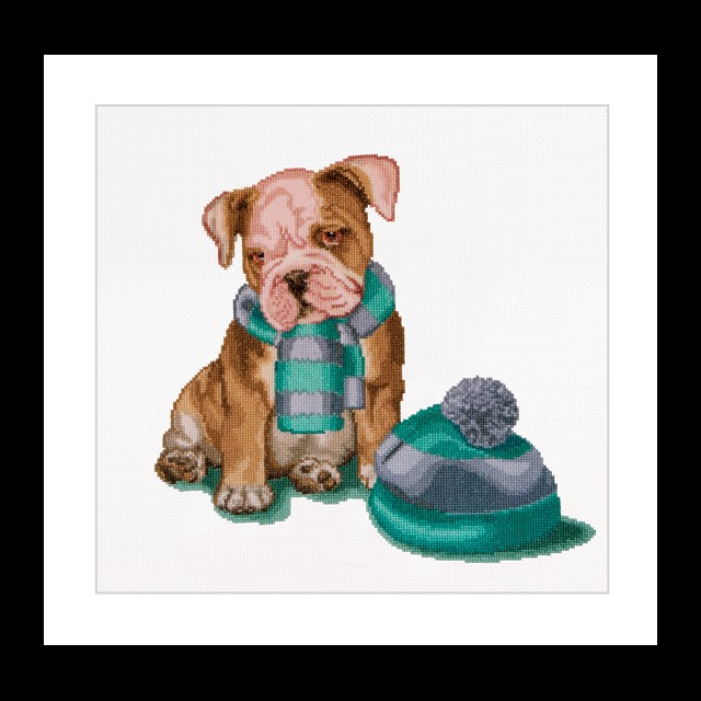 Puppy with Hat and Scarf -  Cross Stitch Kit
