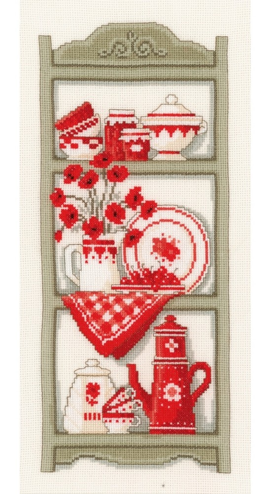 Vervaco Red Kitchen Shelves Cross Stitch