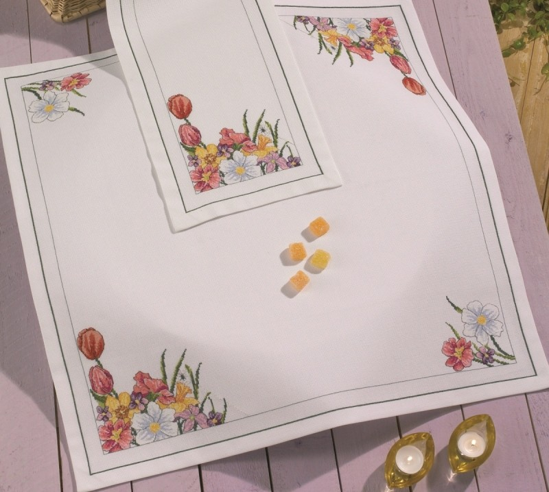 Spring Flowers Tablecloth -  Cross Stitch Kit