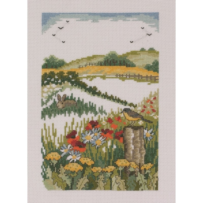 Permin Hare and Poppies Cross Stitch Kit