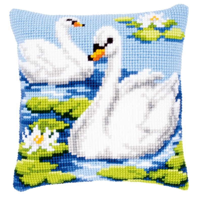 Vervaco Swans Cushion Cross Stitch Kit