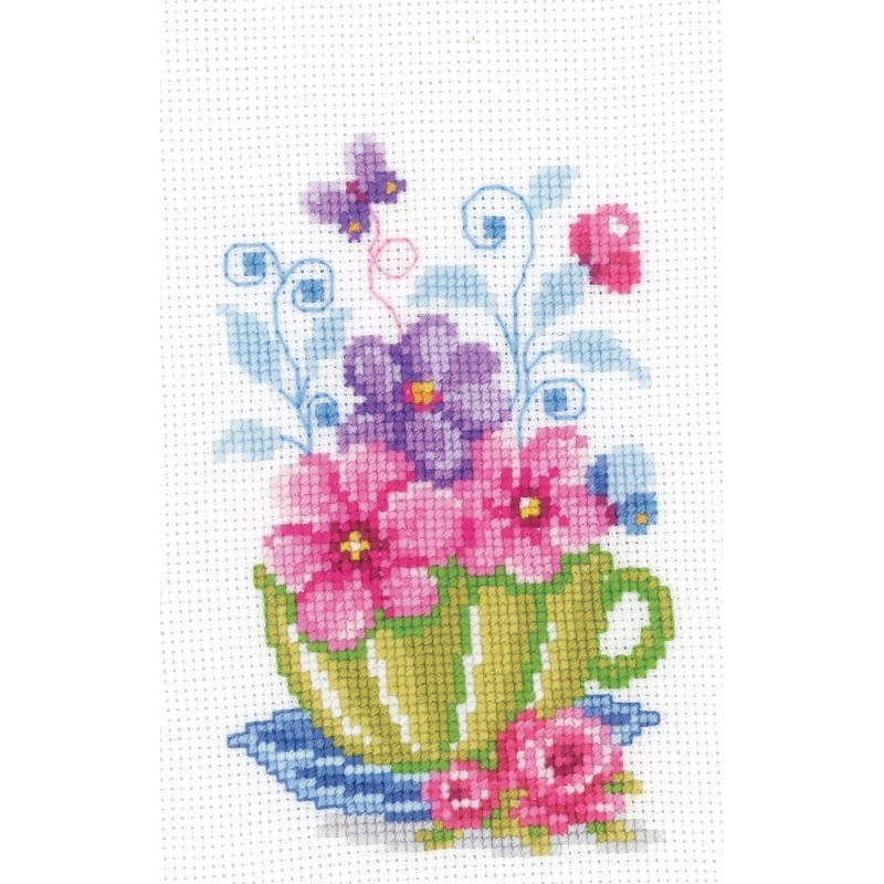 Vervaco Green Teacup Cross Stitch Kit