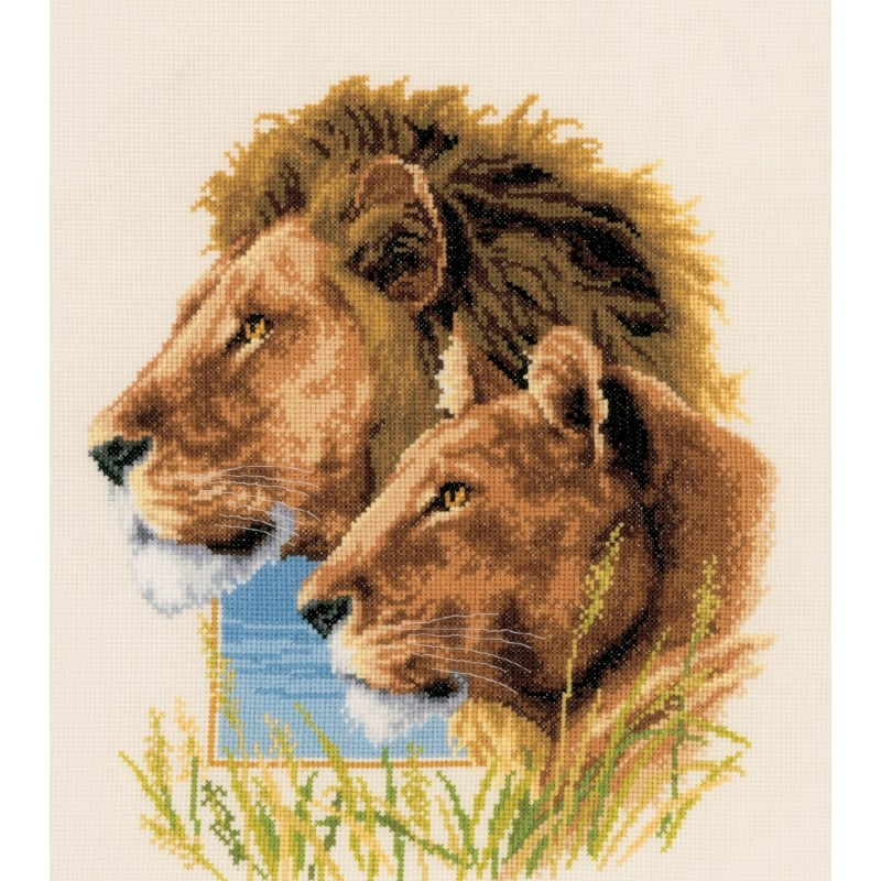 Vervaco Lion Duo - Evenweave Cross Stitch Kit