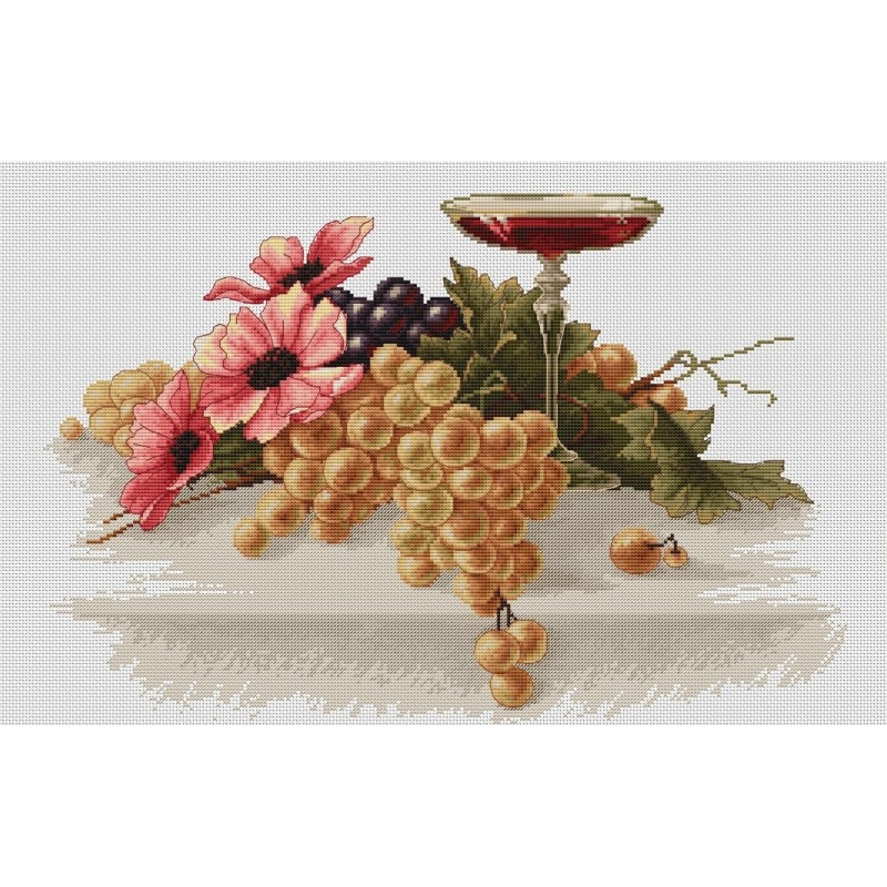Luca-S Flowers and Grapes Cross Stitch Kit