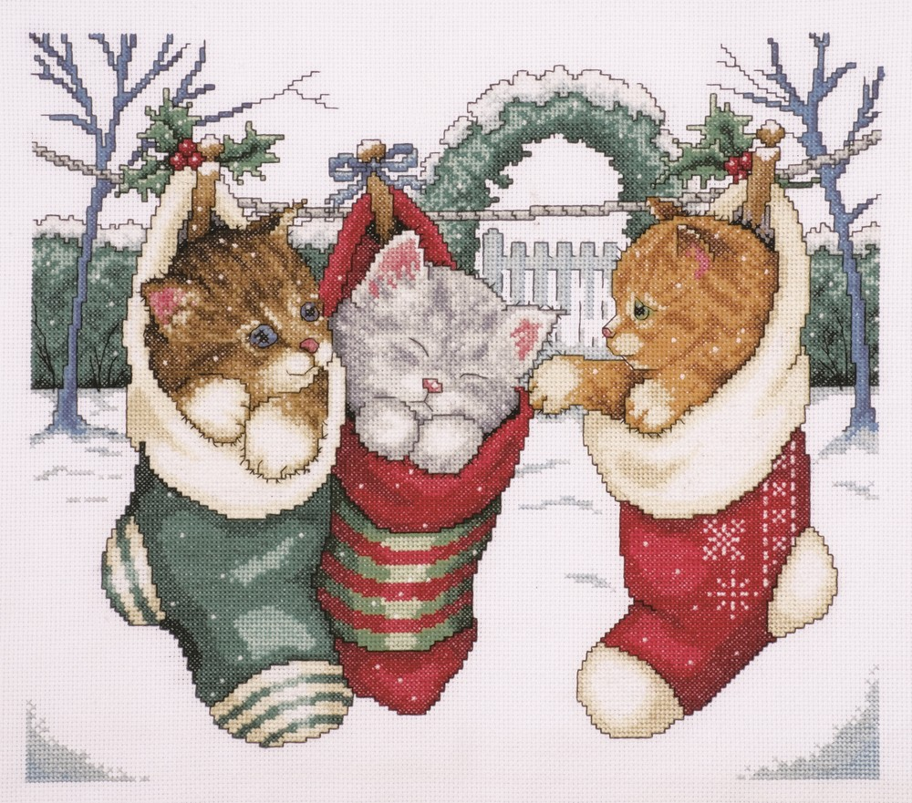 Design Works Crafts Cozy Kittens Christmas Cross Stitch