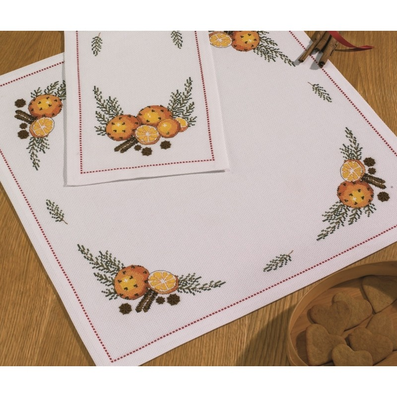 Orange and Cloves Tablecloth White -  Christmas Cross Stitch Kit