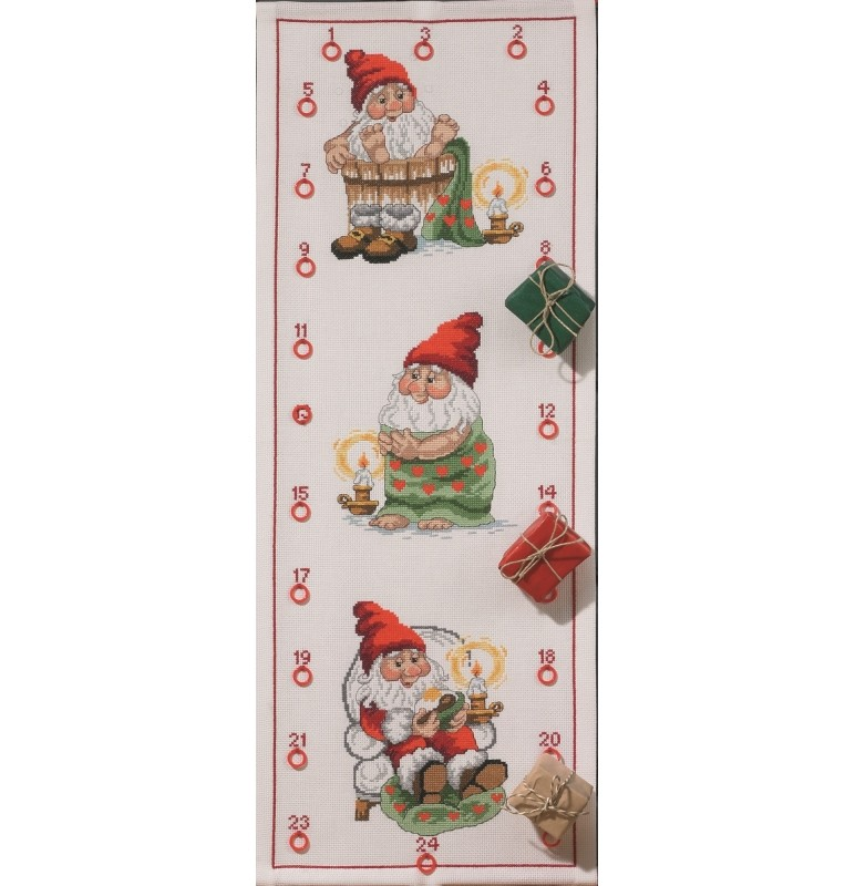 Santa Getting Ready Advent -  Christmas Cross Stitch Kit