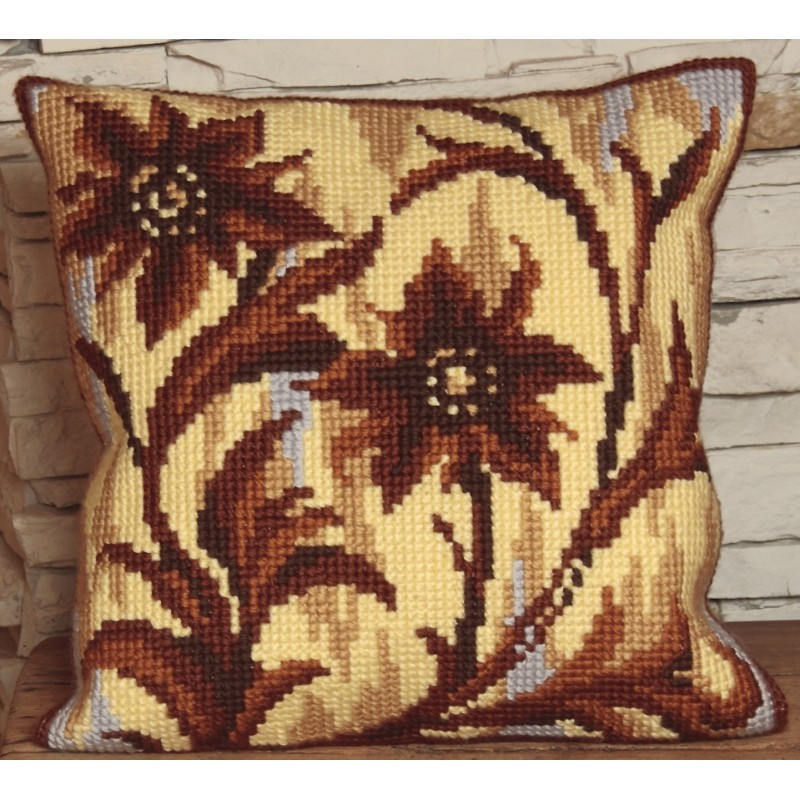 Collection D'Art Brown Flower Silhouette Cross Stitch Kit
