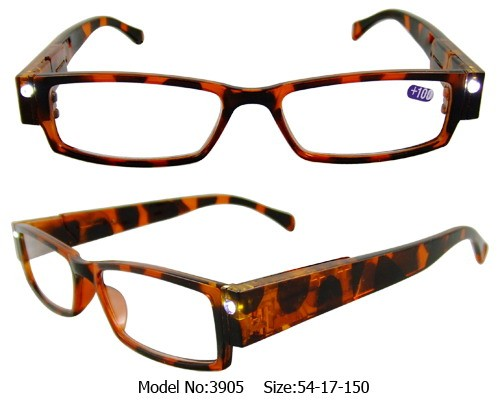 Tortoise Shell Illuminating LED Glasses 2x Magnification