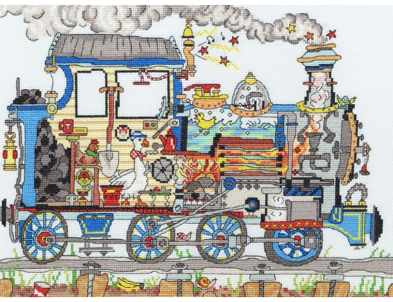 Cut Thru Steam Train -  Cross Stitch Kit