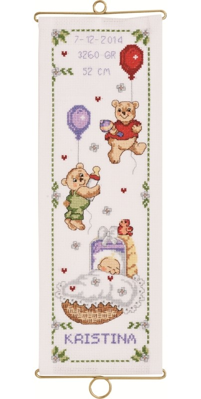 Permin Bears Wallhanging Girl Birth Sampler Cross Stitch Kit