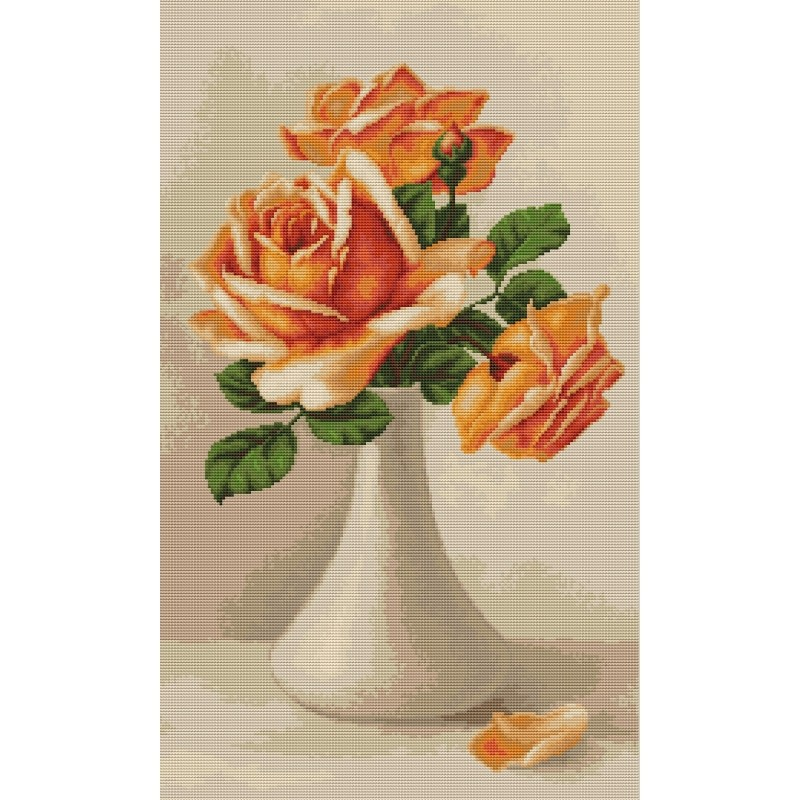 Peach Roses in Vase -  Cross Stitch Kit