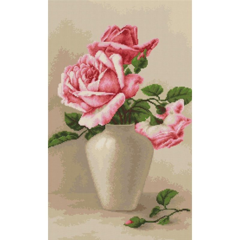 Luca-S Pink Roses in Vase Cross Stitch Kit