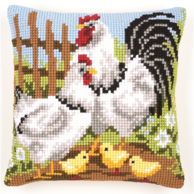 Vervaco Roosters Cushion Cross Stitch Kit