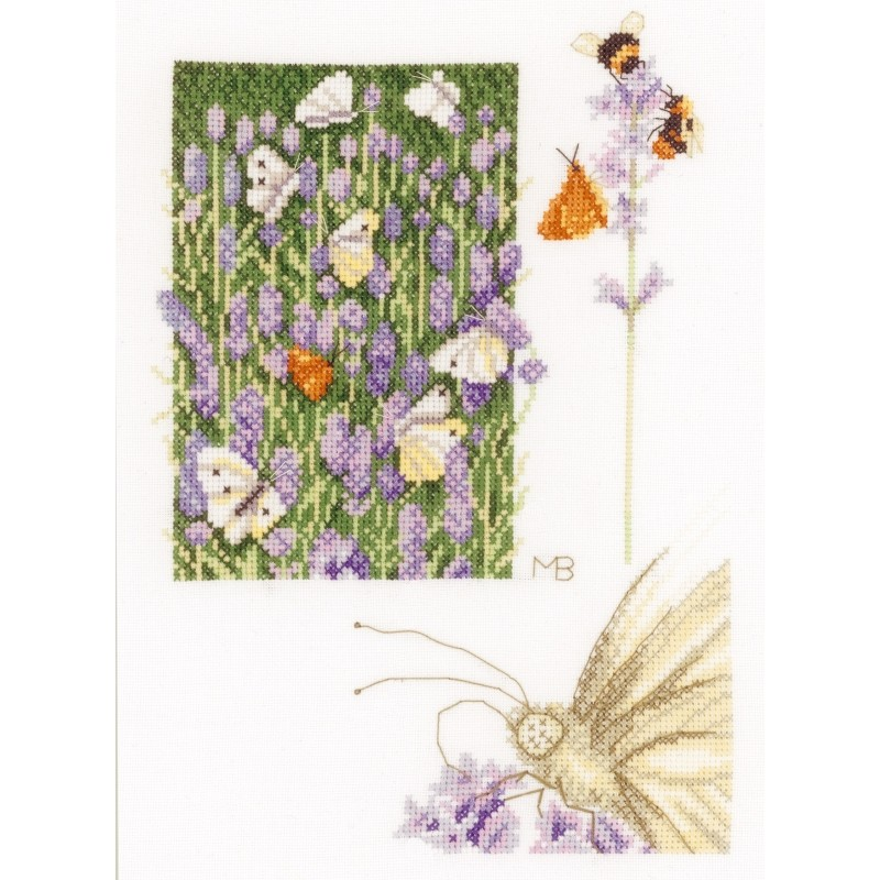 Lavender and Butterfly - Aida -  Cross Stitch Kit