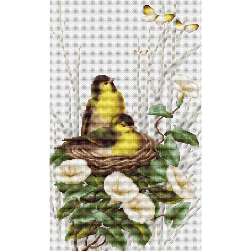 Luca-S Birds in the Nest Cross Stitch Kit